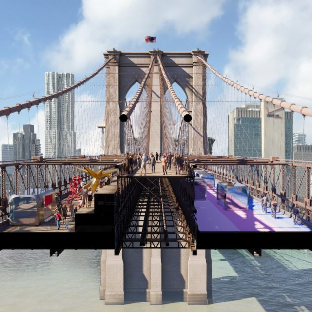 See the design proposals that would make the Brooklyn Bridge a pedestrian oasis