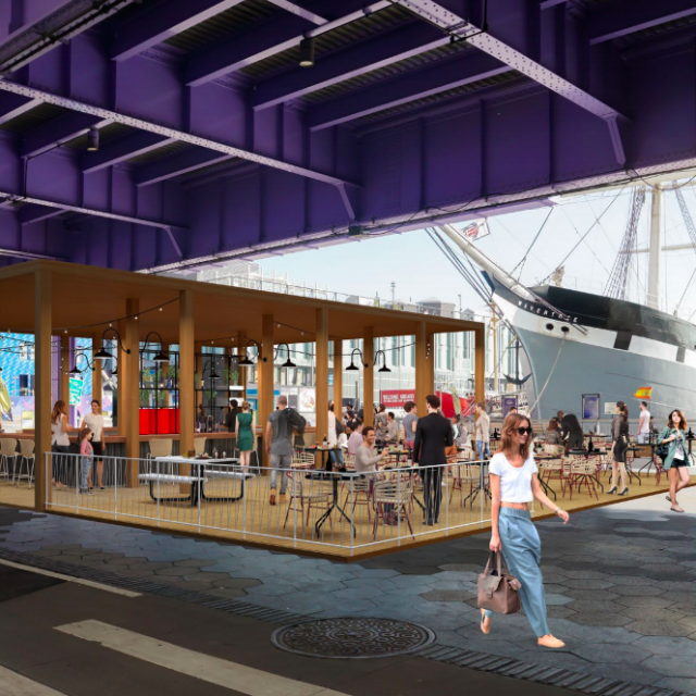 Open-air cafe proposed along the East River in historic South Street Seaport