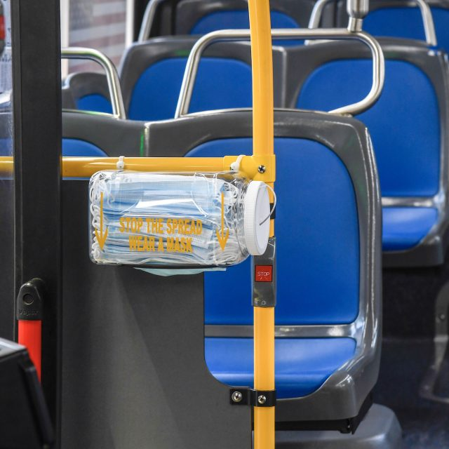 MTA installs free mask dispensers inside buses
