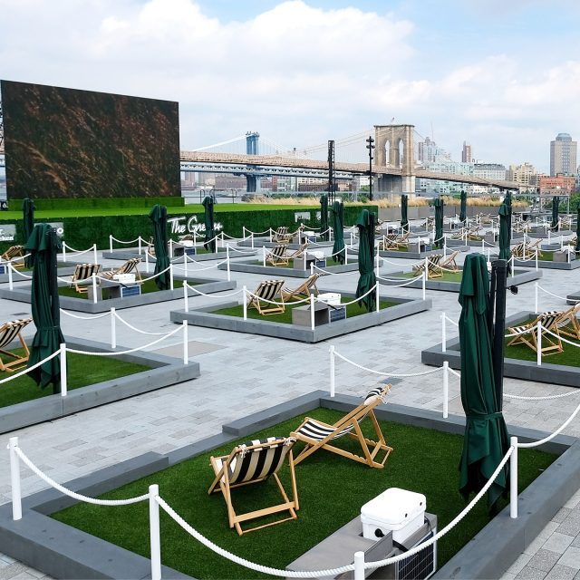 You can lounge and dine at a rooftop 'lawn' at the South Street Seaport