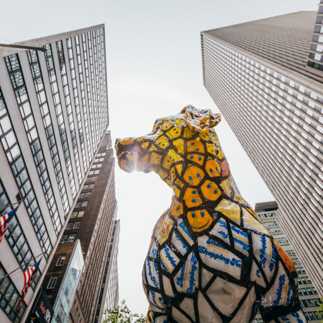 Huge hound sculptures made of recycled materials take over Midtown