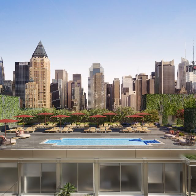 There's a rooftop pool club, a pocket park, and more fun amenities at this new Hell's Kitchen condo