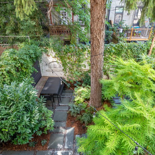 The backyard at this $2.6M Park Slope condo has designer cachet