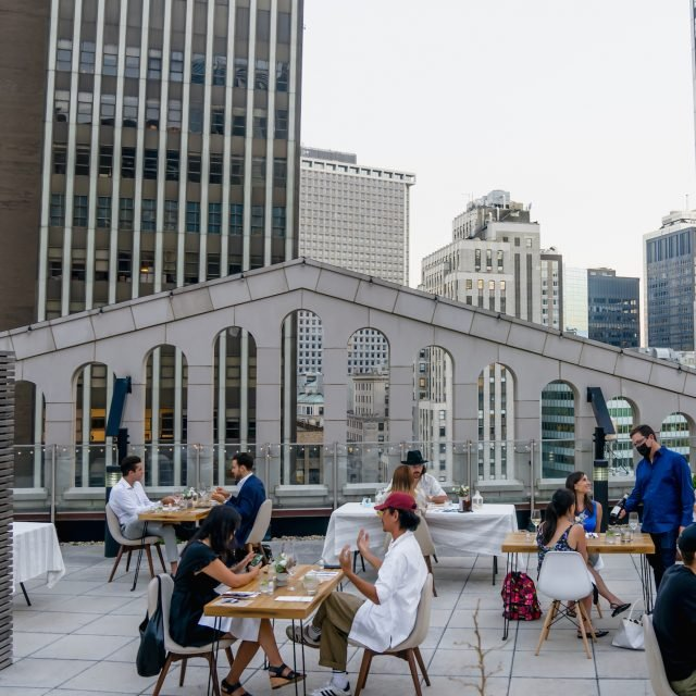 Dine al fresco at the historic Broad Exchange Building's massive penthouse balcony