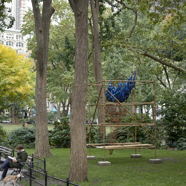 New sculpture in Madison Square Park uses Lady Liberty's torch to symbolize city's struggles