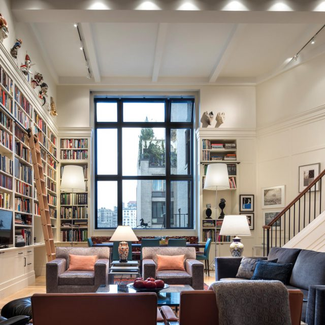 On the Upper West Side, a former artist's loft is now a grand $4.8M duplex with library walls
