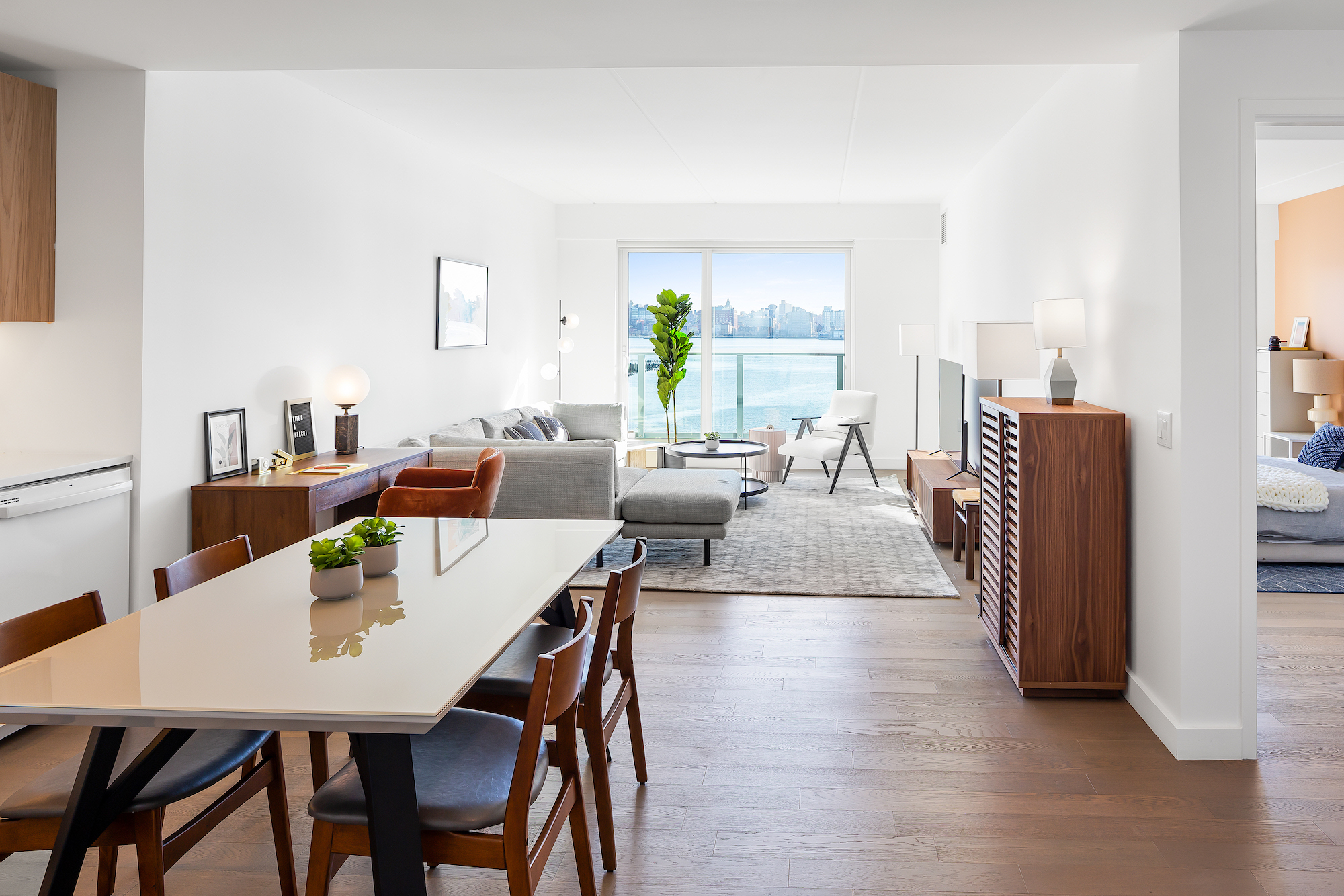 Luxury Jersey City rental The Beach has tons of outdoor space overlooking the skyline