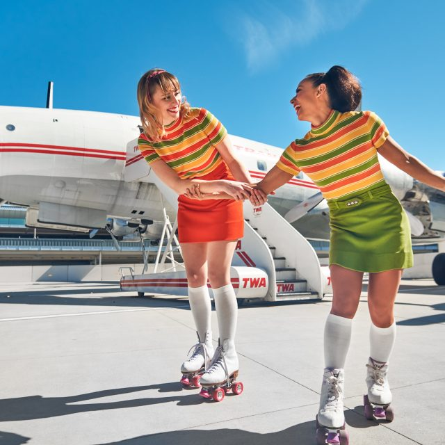 You can roller skate outside on the TWA Hotel's tarmac