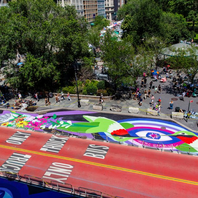 Vibrant new street mural takes over Union Square's 14th Street