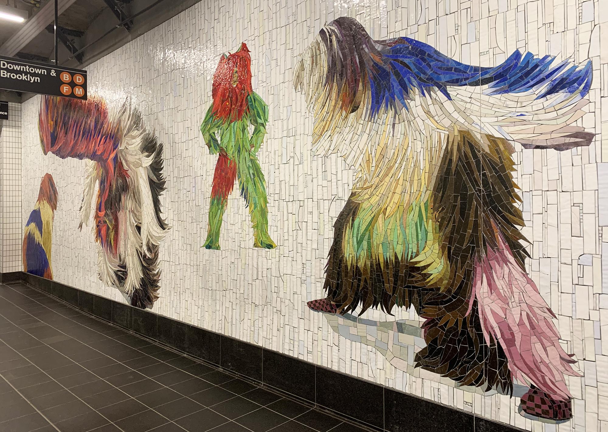 Nick Cave, subway mosaic, 42nd Street Shuttle passage, NYC subway art
