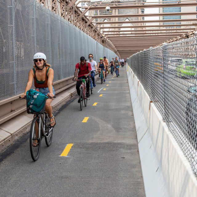 The Brooklyn Bridge bike lane is finally open
