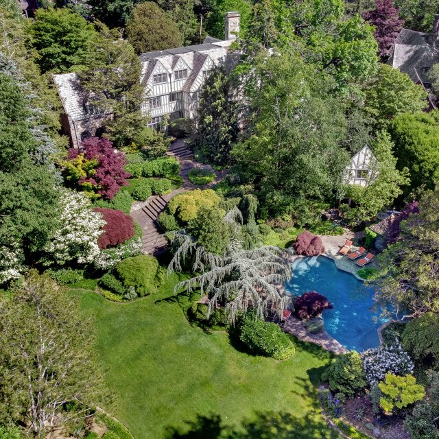 Asking $8.5M, this 100-year-old Bronxville mansion has magical gardens and grand Tudor interiors