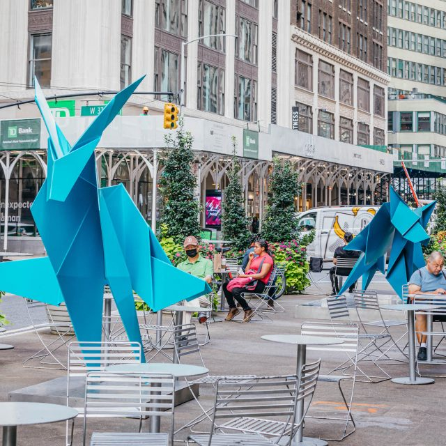 Supersized origami sculptures land in NYC's Garment District