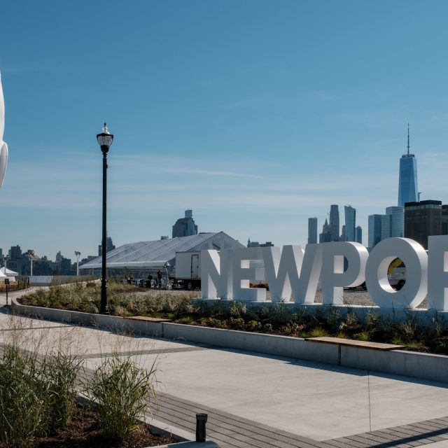 80-foot-tall sculpture and new public plaza unveiled on Jersey City's waterfront