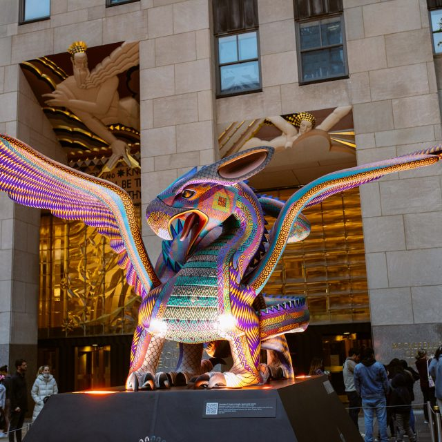 See the Mexican folk-art sculptures on display around Rockefeller Center for Day of the Dead